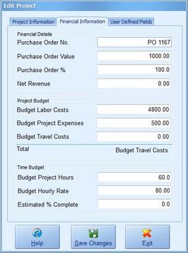 Project Financial Information  Screenshot