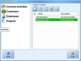 Manage Common Activities Screenshot