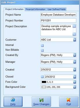 Project Information Screenshot