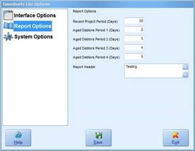 Report Options Screenshot