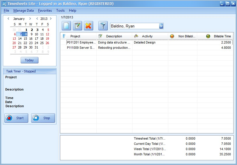 Time Tracking Software - Timesheets Lite