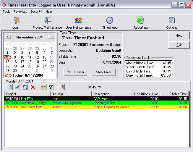 Click to view Timesheets Lite 2.2.22 screenshot